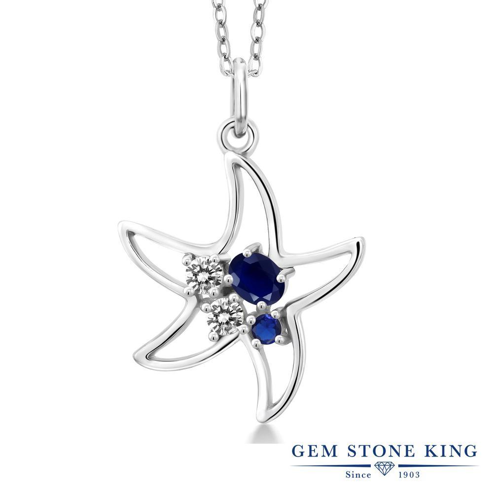 Gem Stone King 0.4カラット 天然 サファイア 天然 ダイヤモンド シルバー925 ネックレス レディース 小粒 天然石 9月 誕生石 金属アレルギー対応 誕生日プレゼント