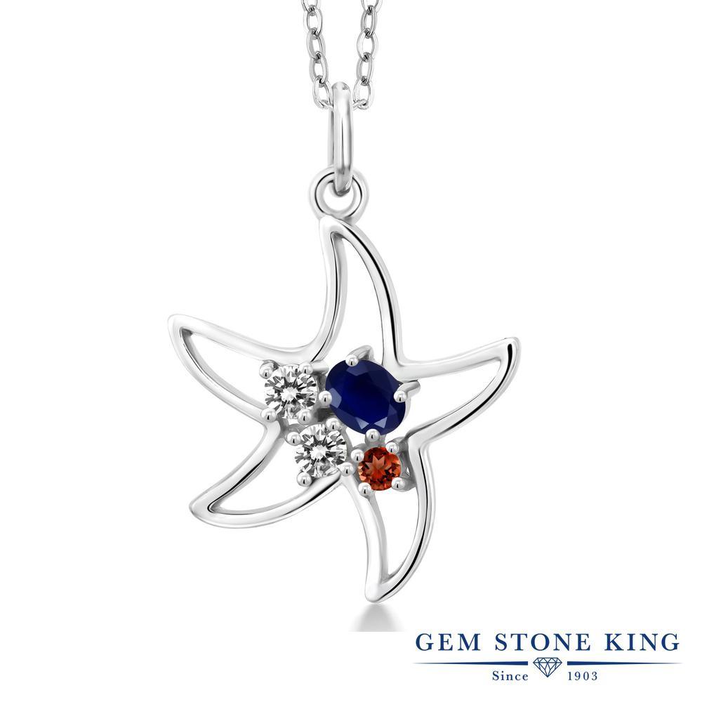 【クーポンで7%OFF】 Gem Stone King 0.4カラット 天然 サファイア 天然 ダイヤモンド シルバー925 ネックレス レディース 小粒 スターフィッシュ 天然石 9月 誕生石 プレゼント 女性 彼女 誕生日 クリスマス