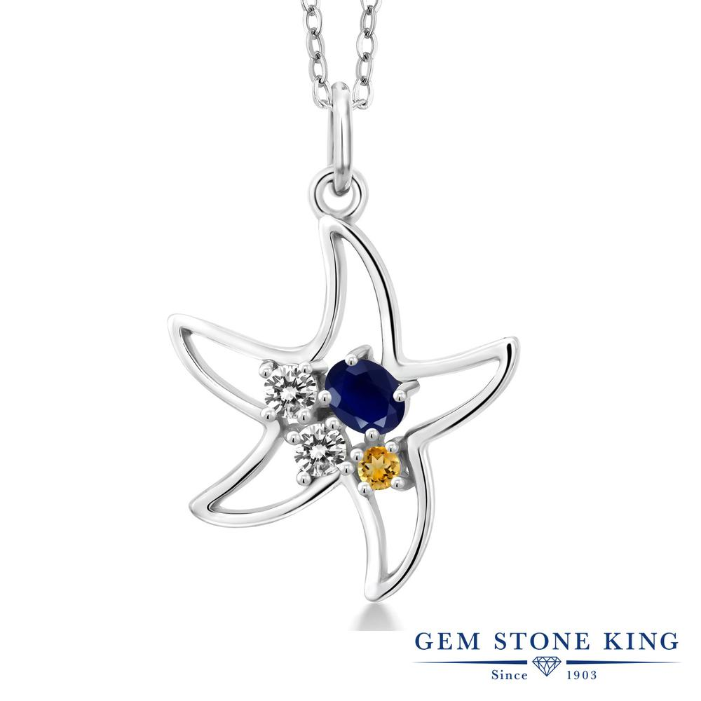 Gem Stone King 0.39カラット 天然 サファイア 天然 ダイヤモンド シルバー925 ネックレス レディース 小粒 天然石 9月 誕生石 金属アレルギー対応 誕生日プレゼント