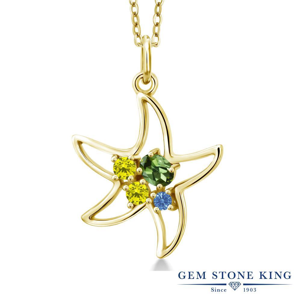 Gem Stone King 0.31カラット 天然 グリーントルマリン 天然 イエローダイヤモンド シルバー925 イエローゴールドコーティング ネックレス レディース 小粒 天然石 10月 誕生石 金属アレルギー対応 誕生日プレゼント