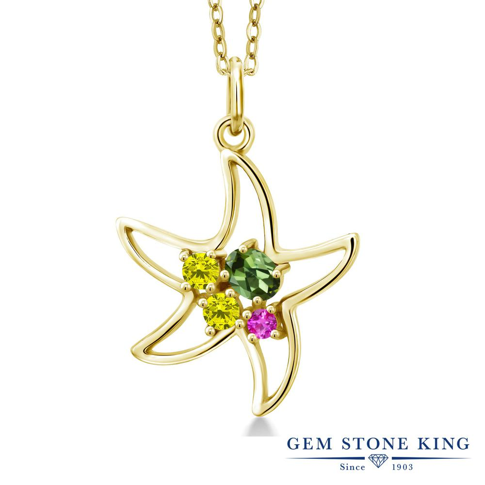 Gem Stone King 0.33カラット 天然 グリーントルマリン 天然 イエローダイヤモンド シルバー925 イエローゴールドコーティング ネックレス レディース 小粒 天然石 10月 誕生石 金属アレルギー対応 誕生日プレゼント