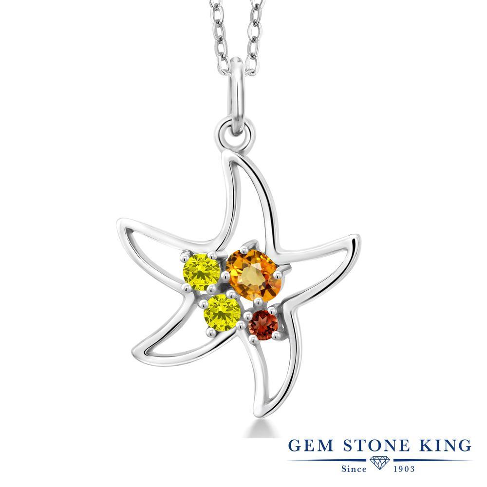 Gem Stone King 0.4カラット 天然 イエローサファイア 天然 イエローダイヤモンド シルバー925 ネックレス レディース 小粒 天然石 9月 誕生石 金属アレルギー対応 誕生日プレゼント