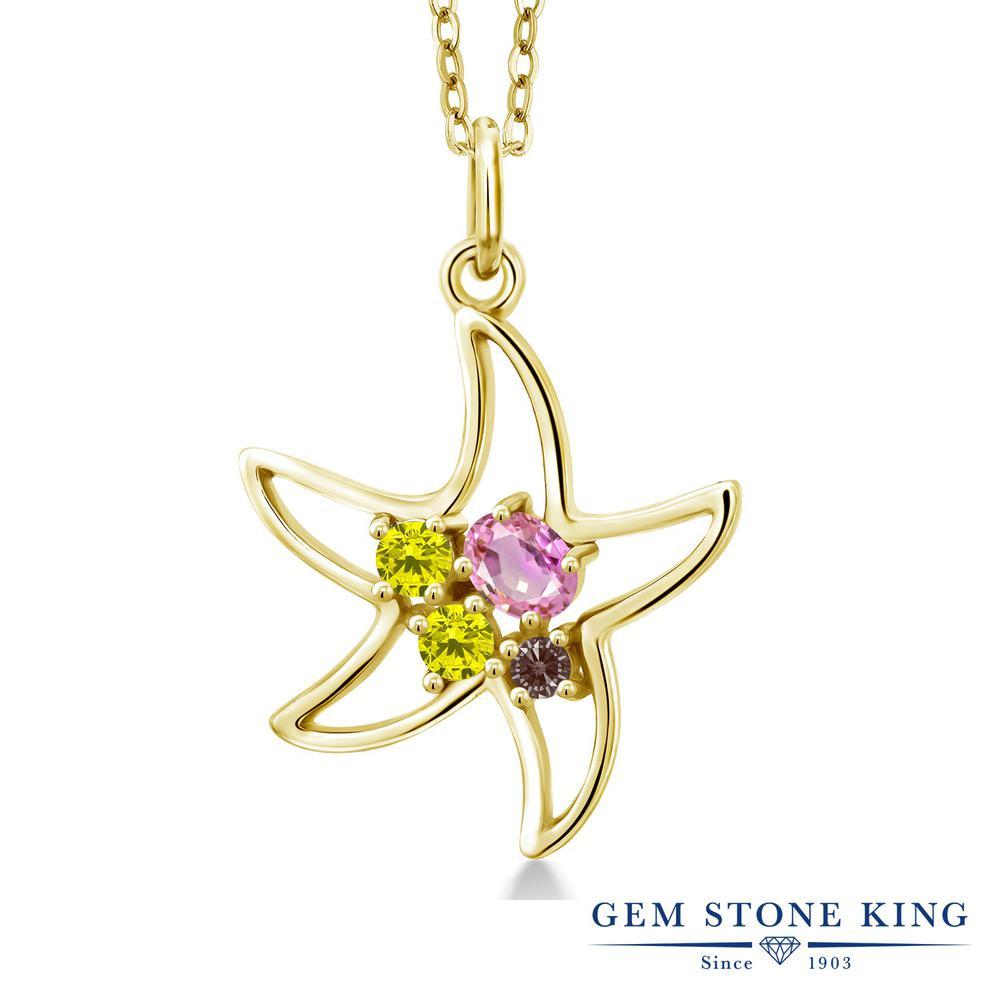 Gem Stone King 0.38カラット 天然 ピンクサファイア 天然 イエローダイヤモンド シルバー925 イエローゴールドコーティング ネックレス レディース 小粒 天然石 9月 誕生石 金属アレルギー対応 誕生日プレゼント