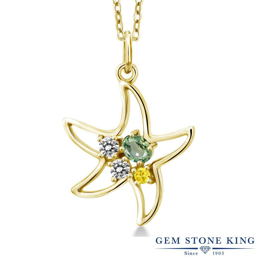 Gem Stone King 0.4カラット 天然 グリーンサファイア 天然 ダイヤモンド シルバー925 イエローゴールドコーティング ネックレス レディース 小粒 天然石 9月 誕生石 金属アレルギー対応 誕生日プレゼント