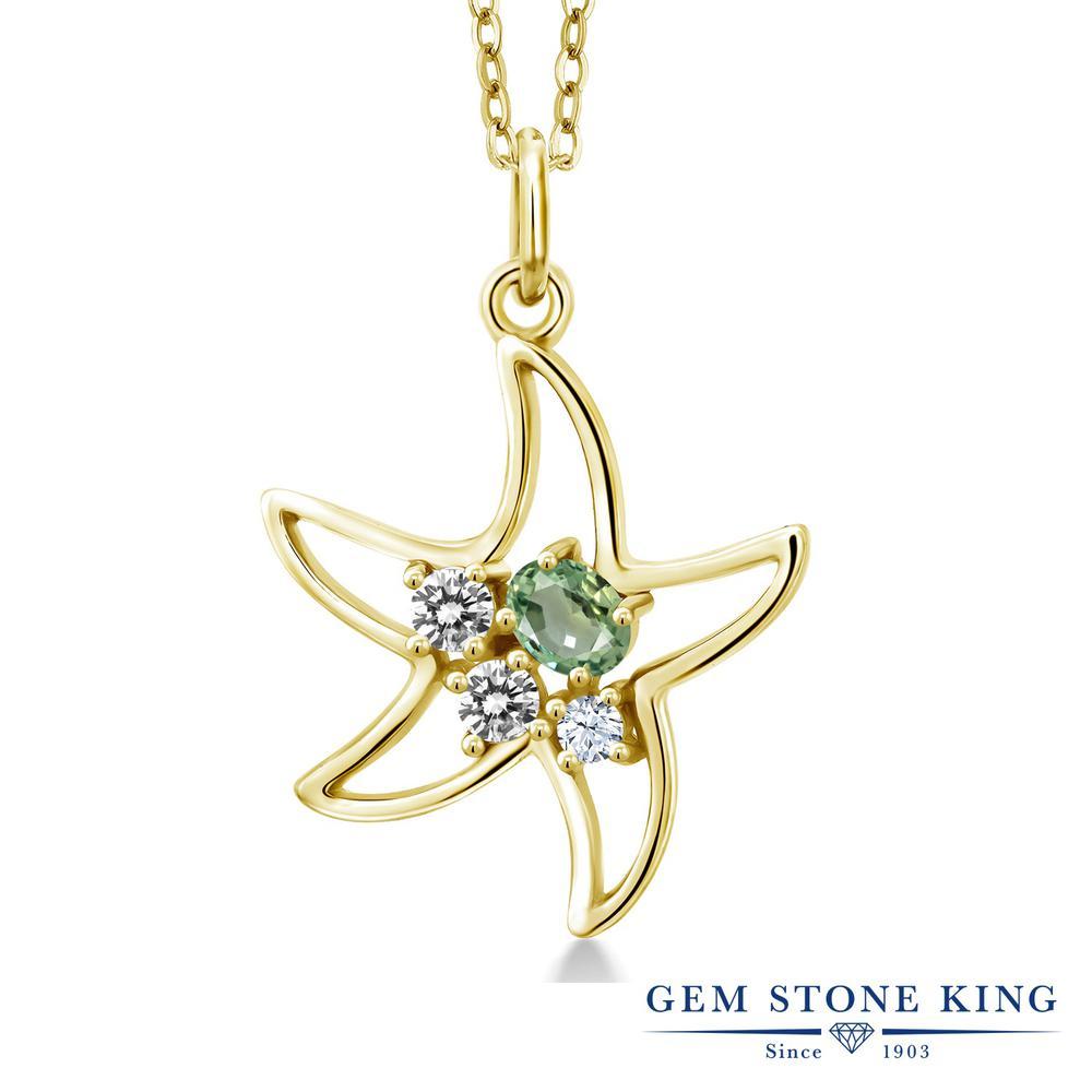Gem Stone King 0.39カラット 天然 グリーンサファイア 天然 ダイヤモンド シルバー925 イエローゴールドコーティング ネックレス レディース 小粒 天然石 9月 誕生石 金属アレルギー対応 誕生日プレゼント