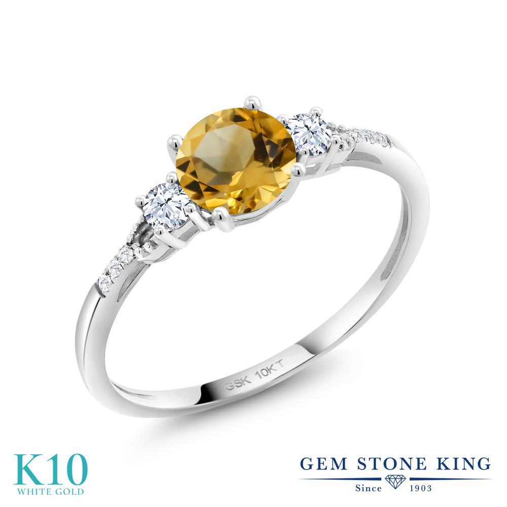 Gem Stone King 0.93カラット 天然 シトリン 合成ホワイトサファイア (ダイヤのような無色透明) 合成ダイヤモンド 10金 ホワイトゴールド(K10) 指輪 リング レディース 天然石 11月 誕生石 金属アレルギー対応 誕生日プレゼント