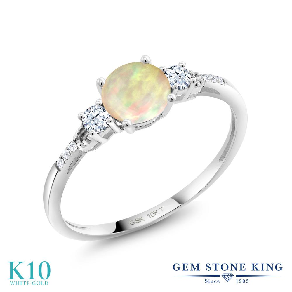 Gem Stone King 0.69カラット 天然 エチオピアンオパール 合成ホワイトサファイア (ダイヤのような無色透明) 合成ダイヤモンド 10金 ホワイトゴールド(K10) 指輪 リング レディース 天然石 金属アレルギー対応 誕生日プレゼント