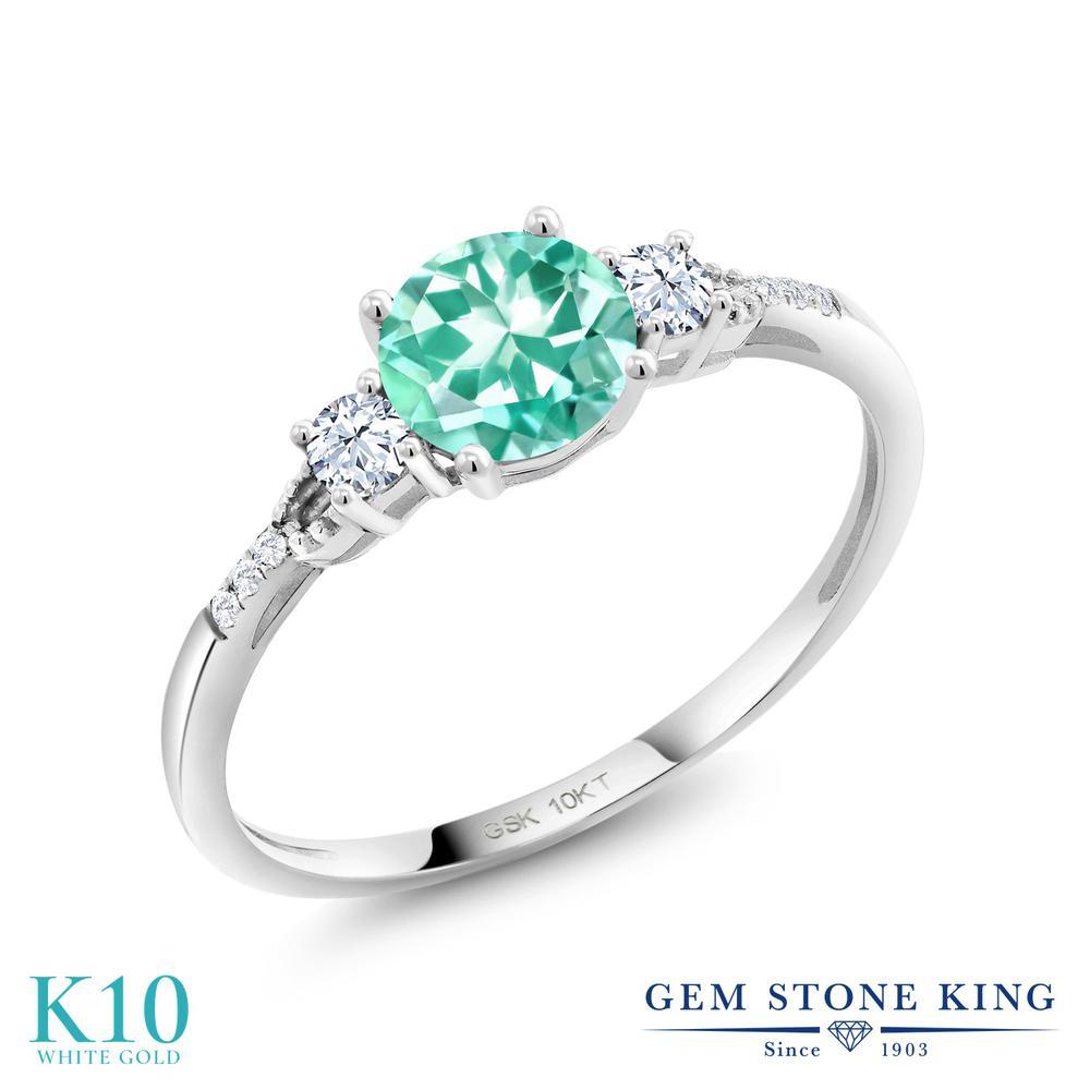 Gem Stone King 0.95カラット 天然 アパタイト 合成ホワイトサファイア (ダイヤのような無色透明) 合成ダイヤモンド 10金 ホワイトゴールド(K10) 指輪 リング レディース 天然石 金属アレルギー対応 誕生日プレゼント