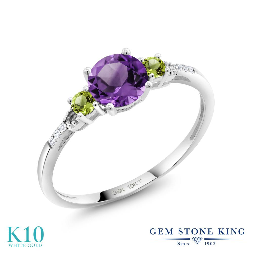 Gem Stone King 1.17カラット 天然 アメジスト 天然石 ペリドット 合成ダイヤモンド 10金 ホワイトゴールド(K10) 指輪 リング レディース 大粒 天然石 2月 誕生石 金属アレルギー対応 誕生日プレゼント