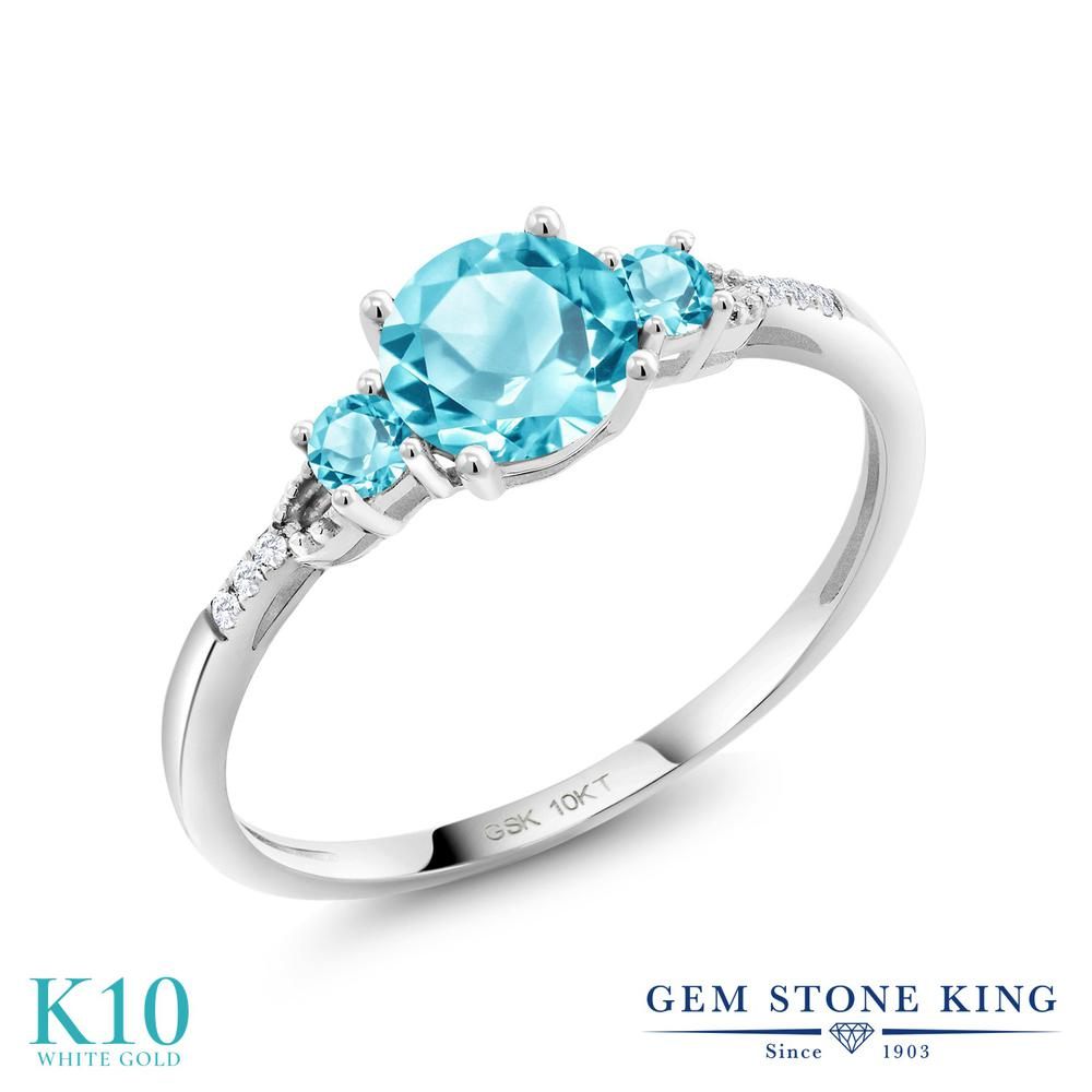 Gem Stone King 1.19カラット 天然 スイスブルートパーズ 合成ダイヤモンド 10金 ホワイトゴールド(K10) 指輪 リング レディース 大粒 天然石 11月 誕生石 金属アレルギー対応 誕生日プレゼント