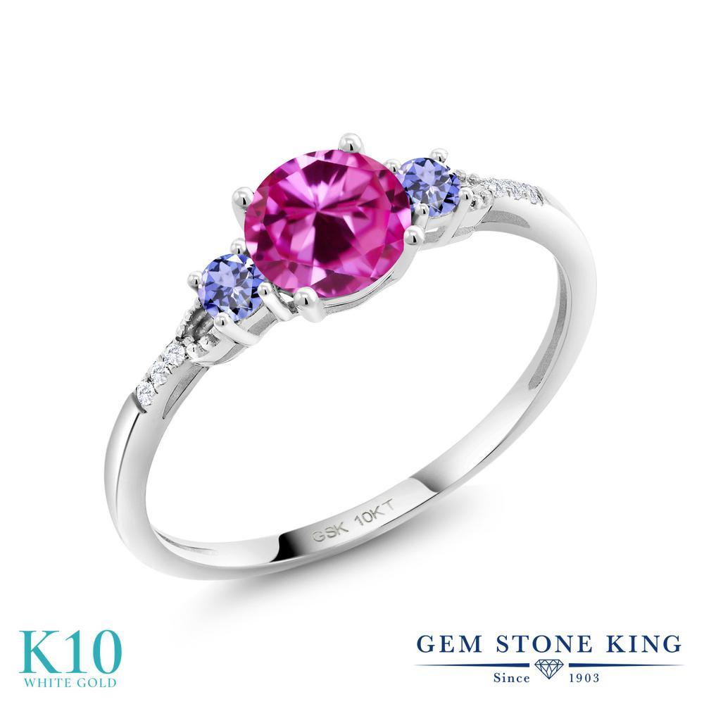 Gem Stone King 1.19カラット 合成ピンクサファイア 天然石 タンザナイト 合成ダイヤモンド 10金 ホワイトゴールド(K10) 指輪 リング レディース 大粒 金属アレルギー対応 誕生日プレゼント