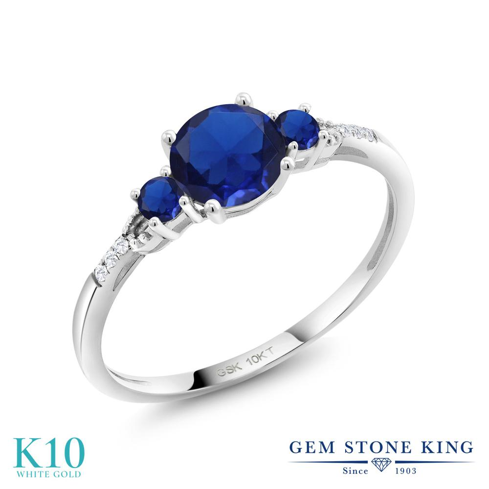Gem Stone King 1.13カラット シミュレイテッド サファイア 合成ダイヤモンド 10金 ホワイトゴールド(K10) 指輪 リング レディース 大粒 金属アレルギー対応 誕生日プレゼント