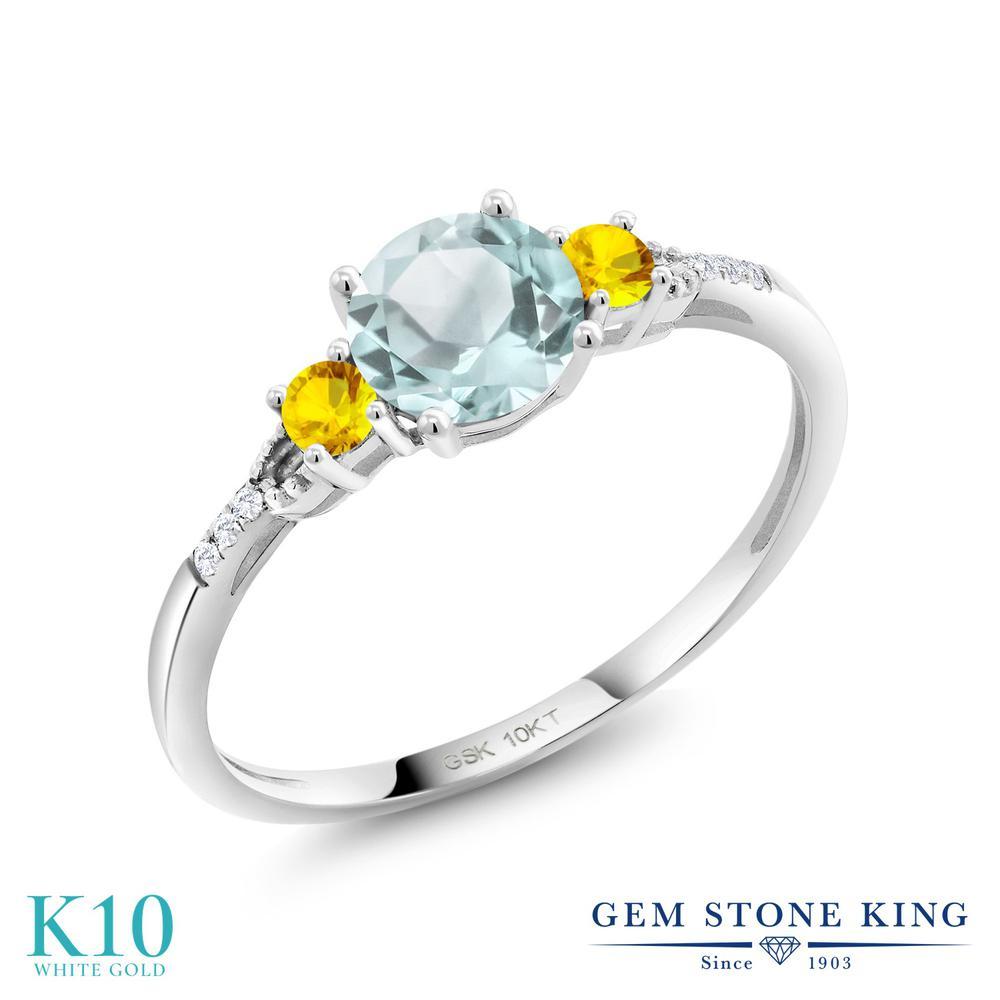 Gem Stone King 1.13カラット 天然 スカイブルートパーズ イエローサファイア 合成ダイヤモンド 10金 ホワイトゴールド(K10) 指輪 リング レディース 大粒 天然石 11月 誕生石 金属アレルギー対応 誕生日プレゼント