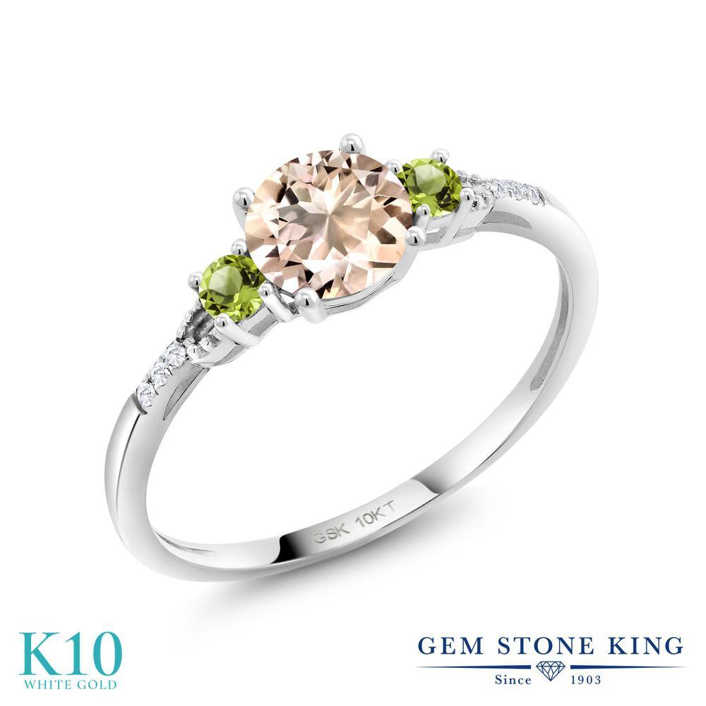 Gem Stone King 0.77カラット 天然 モルガナイト (ピーチ) 天然石 ペリドット 合成ダイヤモンド 10金 ホワイトゴールド(K10) 指輪 リング レディース 天然石 3月 誕生石 金属アレルギー対応 誕生日プレゼント