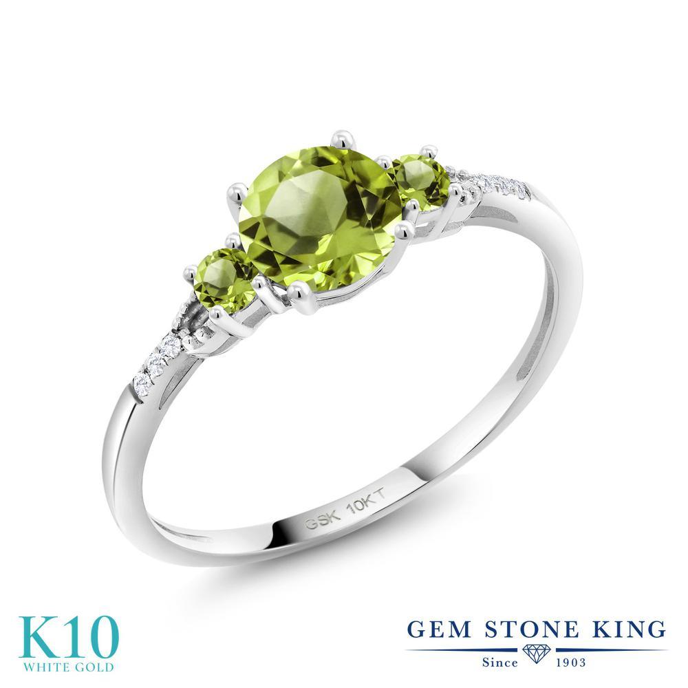 0.68カラット 天然石 ペリドット 指輪 レディース リング 合成ダイヤモンド 10金 ホワイトゴールド K10 ブランド 緑 細身 8月 誕生石 婚約指輪 エンゲージリング