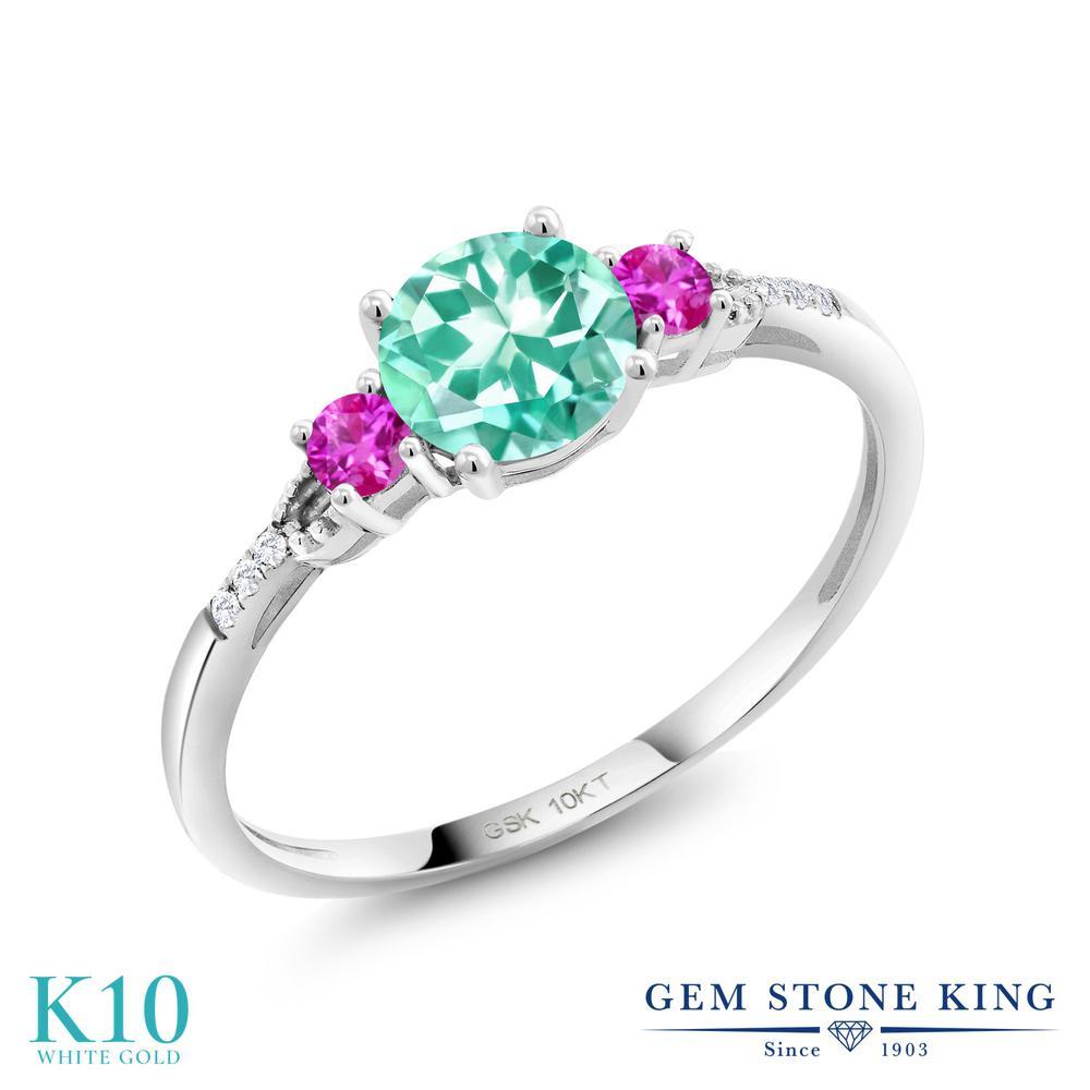 Gem Stone King 0.95カラット 天然 アパタイト ピンクサファイア 合成ダイヤモンド 10金 ホワイトゴールド(K10) 指輪 リング レディース 天然石 金属アレルギー対応 誕生日プレゼント