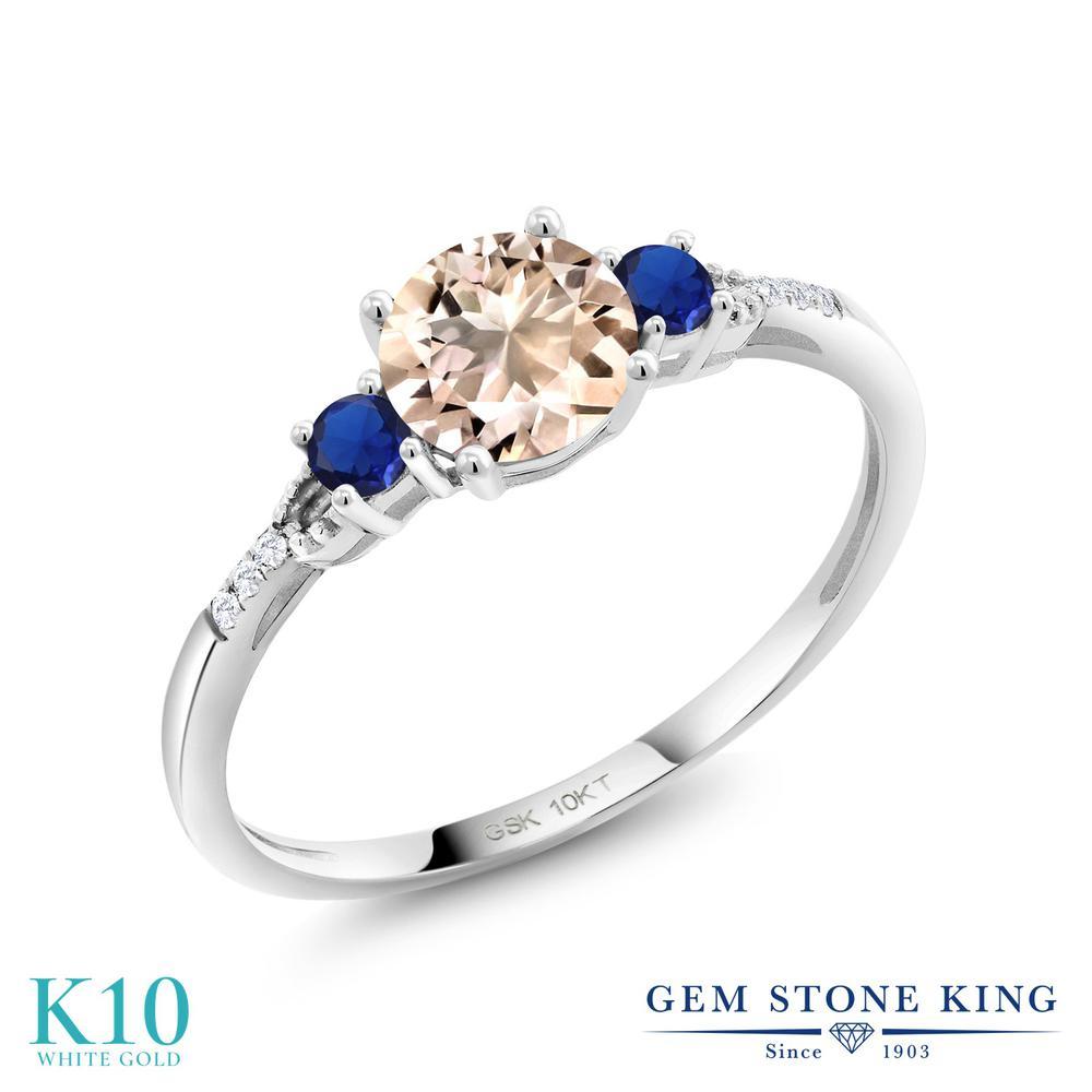 Gem Stone King 0.73カラット 天然 モルガナイト (ピーチ) 合成ダイヤモンド 10金 ホワイトゴールド(K10) 指輪 リング レディース 天然石 3月 誕生石 金属アレルギー対応 誕生日プレゼント