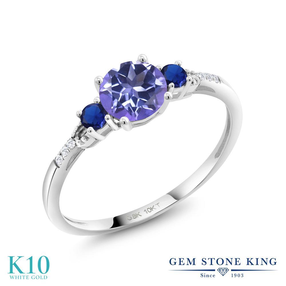 Gem Stone King 1.13カラット 天然 ミスティックトパーズ (タンザナイトブルー) 合成ダイヤモンド 10金 ホワイトゴールド(K10) 指輪 リング レディース 大粒 天然石 金属アレルギー対応 誕生日プレゼント