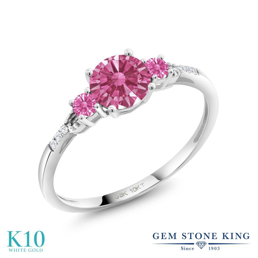 Gem Stone King 0.97カラット スワロフスキージルコニア (レッド) 合成ダイヤモンド 10金 ホワイトゴールド(K10) 指輪 リング レディース CZ 一粒 金属アレルギー対応 誕生日プレゼント