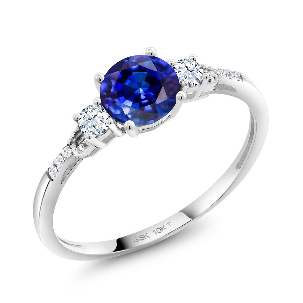 1.38カラット 天然 カイヤナイト (ブルー) 合成ホワイトサファイア (ダイヤのような無色透明) 合成ダイヤモンド 10金 ホワイトゴールド(K10) 指輪 レディース リング 大粒 天然石 金属アレルギー対応 誕生日プレゼント