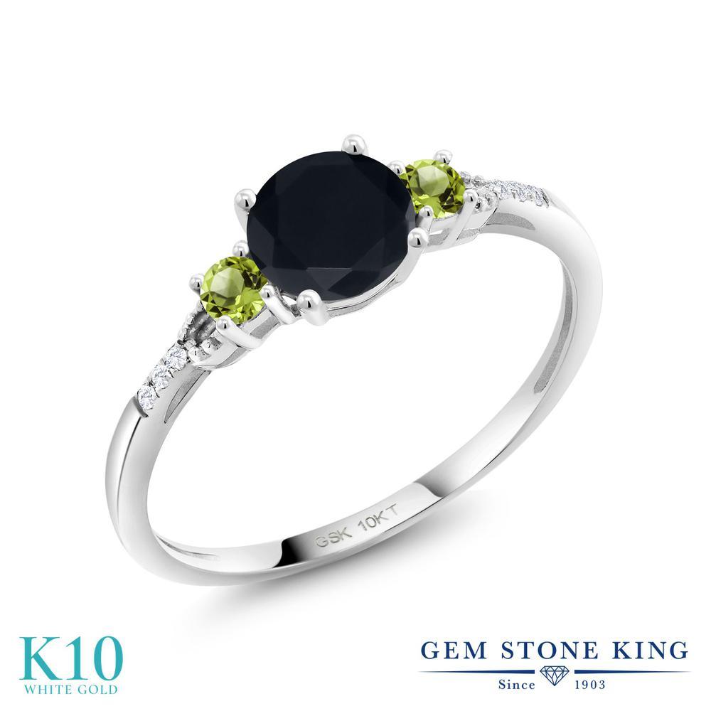 0.61カラット 天然 オニキス 指輪 レディース リング 天然石 ペリドット 合成ダイヤモンド 10金 ホワイトゴールド K10 ブランド 黒 小粒 細身 8月 誕生石 婚約指輪 エンゲージリング