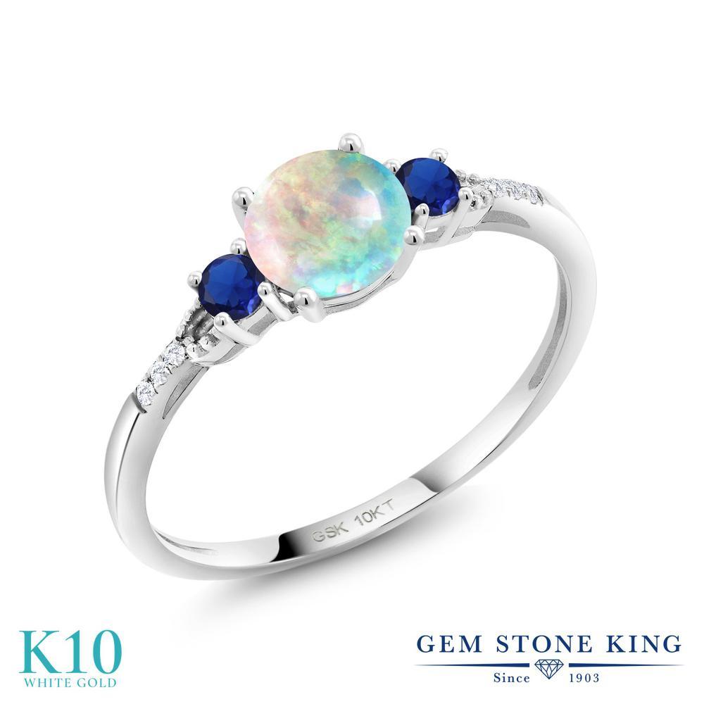 0.62カラット シミュレイテッド ホワイトオパール 指輪 レディース リング 合成サファイア 合成ダイヤモンド 10金 ホワイトゴールド K10 ブランド 白 小粒 細身 10月 誕生石 婚約指輪 エンゲージリング