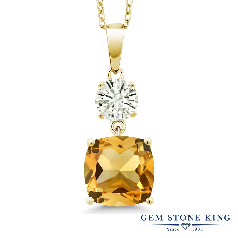 Gem Stone King 4.4カラット 天然 シトリン モアサナイト Charles & Colvard シルバー925 イエローゴールドコーティング ネックレス ペンダント レディース 大粒 シンプル 天然石 11月 誕生石 金属アレルギー対応 誕生日プレゼント