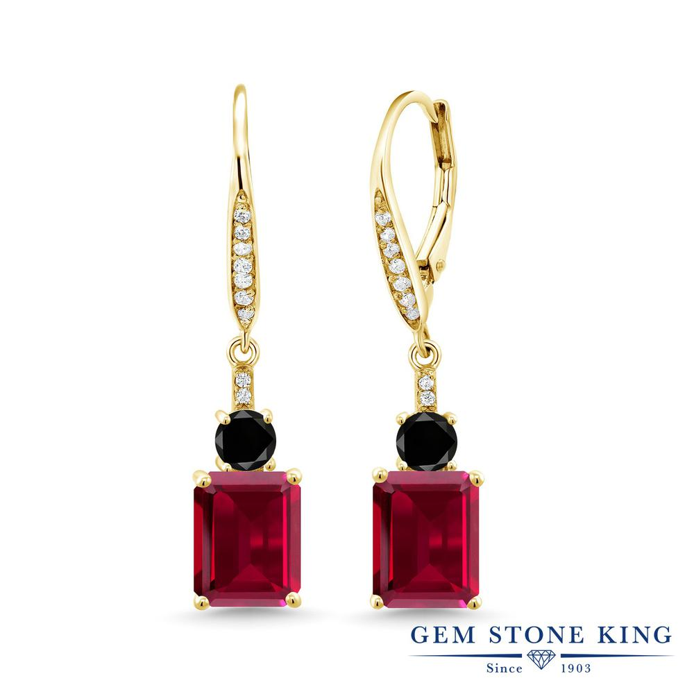Gem Stone King 6.14カラット 合成ルビー 天然ブラックダイヤモンド シルバー925 イエローゴールドコーティング ピアス レディース 大粒 ぶら下がり レバーバック 金属アレルギー対応 誕生日プレゼント