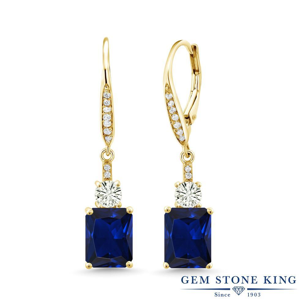 Gem Stone King 5.86カラット シミュレイテッド サファイア モアサナイト Charles & Colvard シルバー925 イエローゴールドコーティング ピアス レディース 大粒 ぶら下がり レバーバック 金属アレルギー対応 誕生日プレゼント