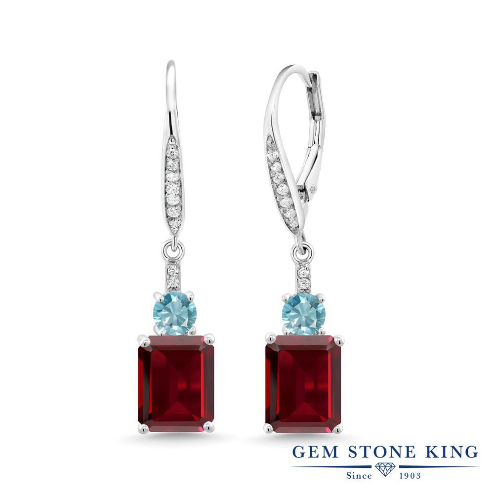 Gem Stone King 6.22カラット 天然 ガーネット 天然石 ブルージルコン シルバー925 ピアス レディース 大粒 ぶら下がり レバーバック 1月 誕生石 金属アレルギー対応 誕生日プレゼント