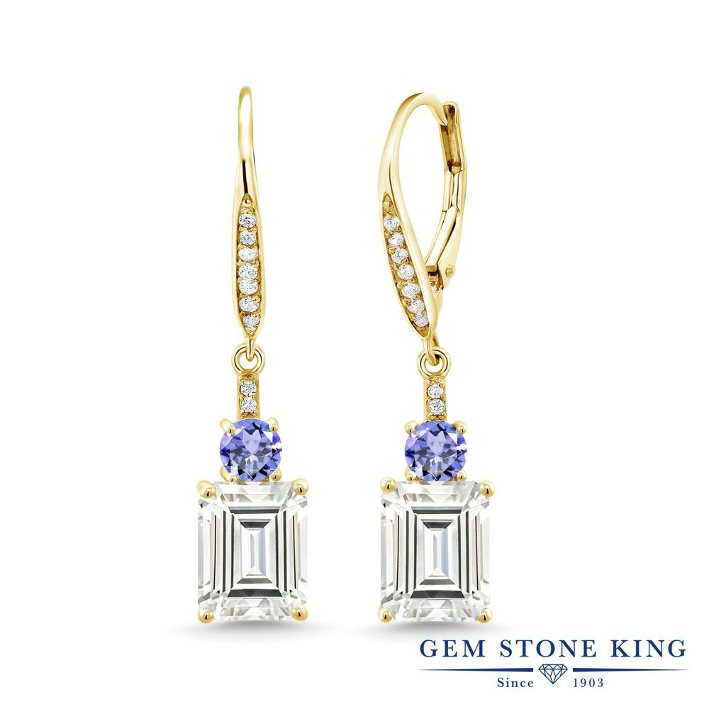 Gem Stone King 4.8カラット Forever Classic 天然石 タンザナイト シルバー925 イエローゴールドコーティング ピアス レディース モアサナイト 大粒 ぶら下がり レバーバック 金属アレルギー対応 誕生日プレゼント