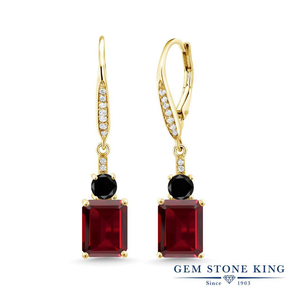 Gem Stone King 5.76カラット 天然 ガーネット 天然ブラックダイヤモンド シルバー925 イエローゴールドコーティング ピアス レディース 大粒 ぶら下がり レバーバック 天然石 1月 誕生石 金属アレルギー対応 誕生日プレゼント