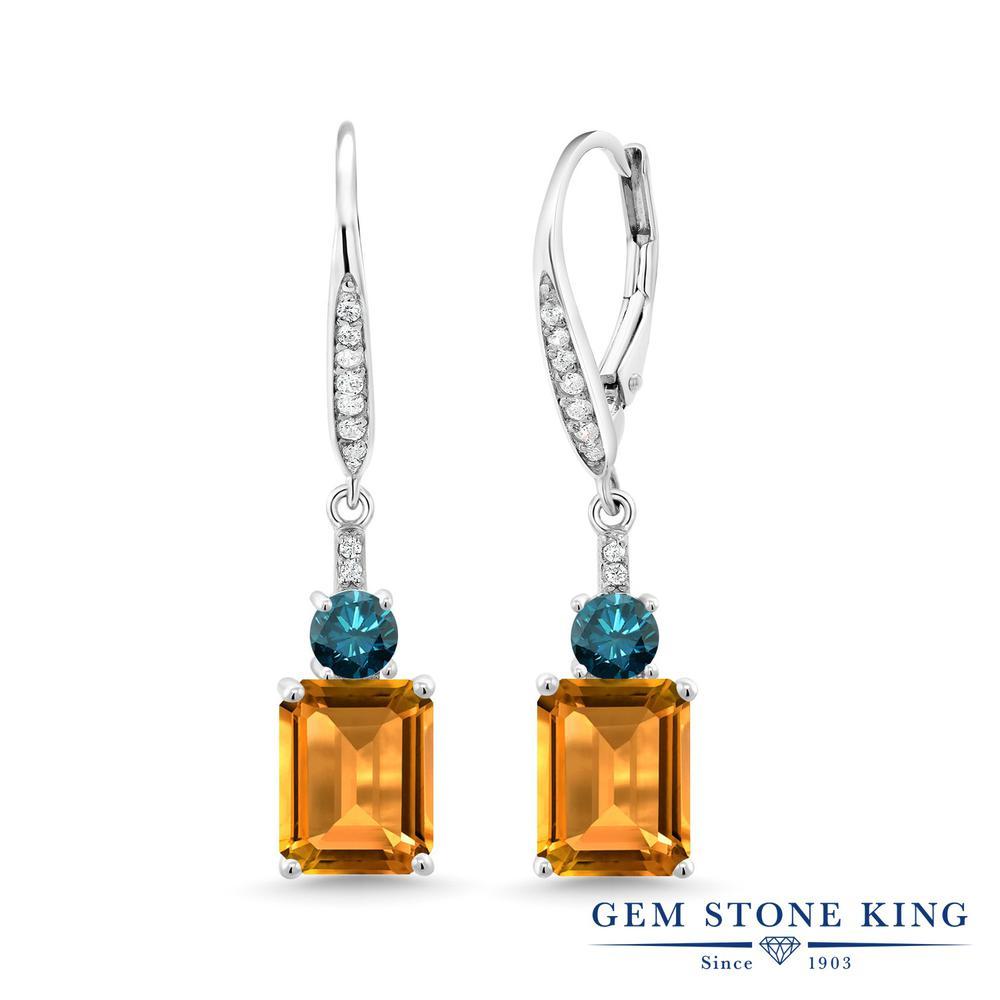 Gem Stone King 5.19カラット 天然 シトリン 天然 ブルーダイヤモンド シルバー925 ピアス レディース 大粒 ぶら下がり レバーバック 天然石 11月 誕生石 金属アレルギー対応 誕生日プレゼント