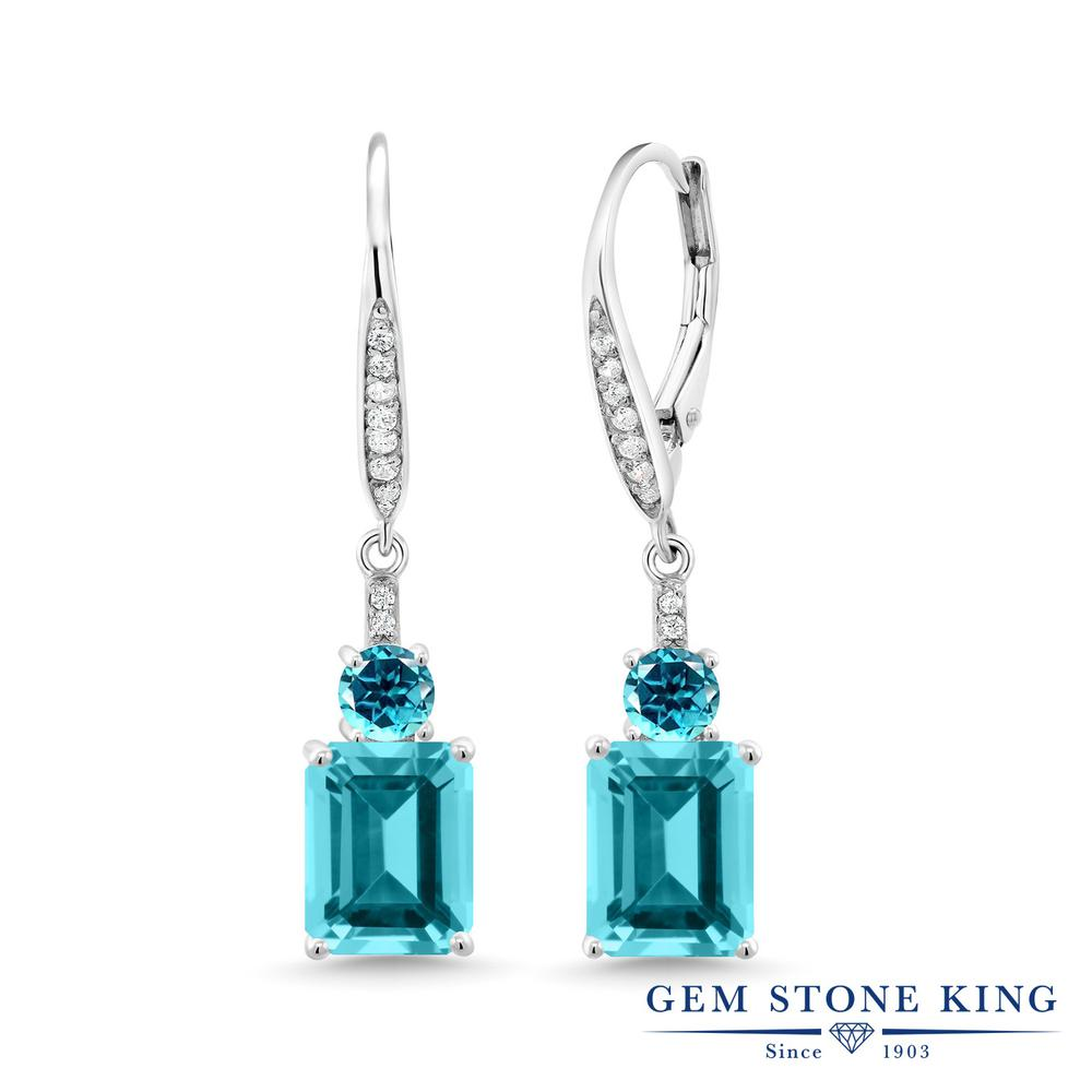Gem Stone King 5.9カラット 天然石 パライバトパーズ (スワロフスキー 天然石シリーズ) シルバー925 ピアス レディース 大粒 ぶら下がり レバーバック 金属アレルギー対応 誕生日プレゼント
