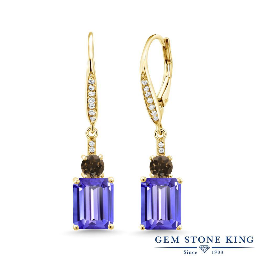 Gem Stone King 5.12カラット 天然石 タンザナイト 天然 スモーキークォーツ (ブラウン) シルバー925 イエローゴールドコーティング ピアス レディース 大粒 ぶら下がり レバーバック 12月 誕生石 金属アレルギー対応 誕生日プレゼント