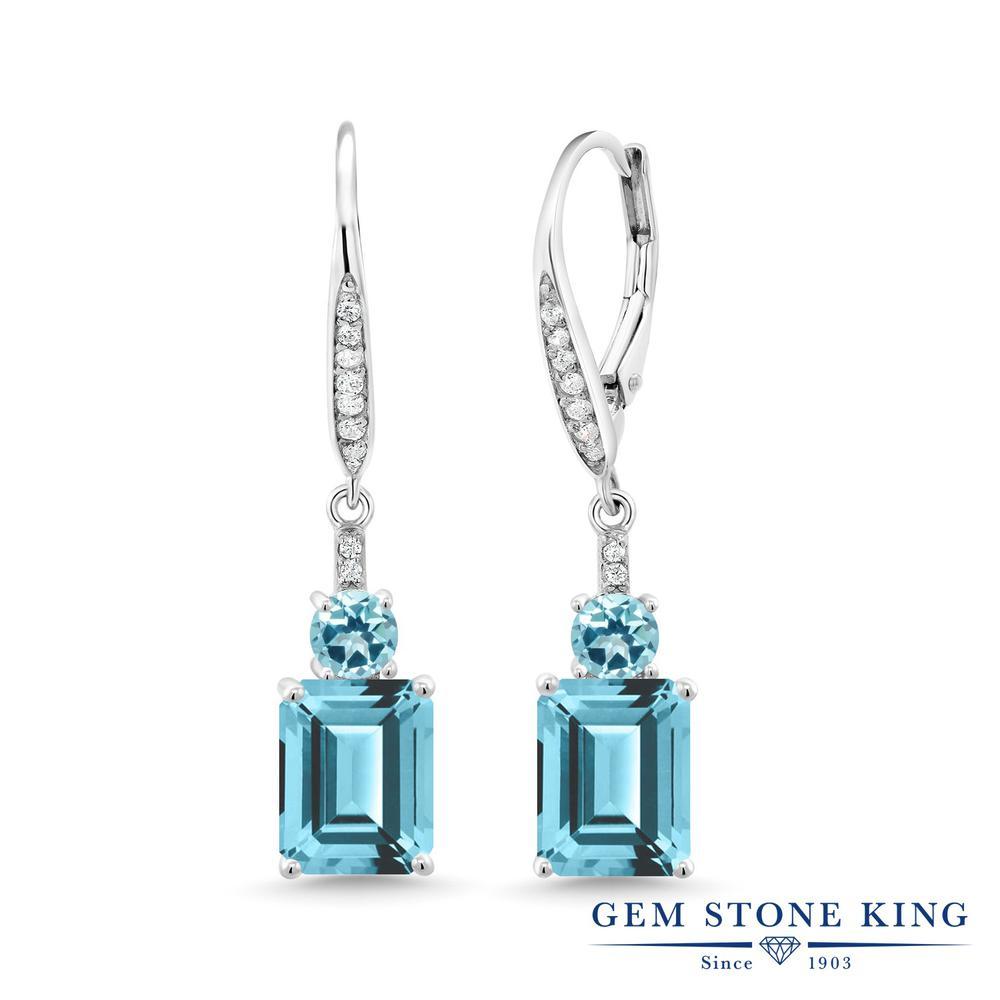 Gem Stone King 5.9カラット 天然石 アイスブルートパーズ (スワロフスキー 天然石シリーズ) シルバー925 ピアス レディース 大粒 ぶら下がり レバーバック 金属アレルギー対応 誕生日プレゼント