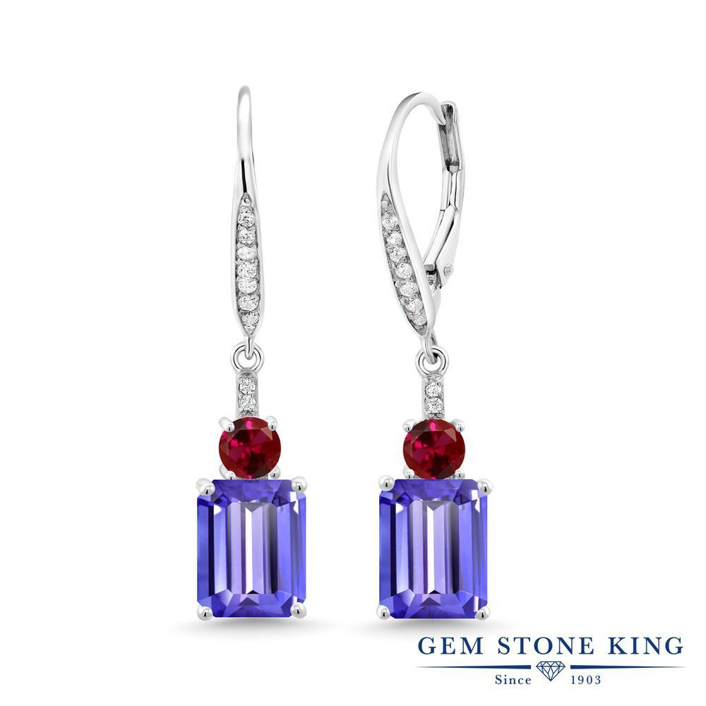 Gem Stone King 5.1カラット 天然石 タンザナイト 合成ルビー シルバー925 ピアス レディース 大粒 ぶら下がり レバーバック 12月 誕生石 金属アレルギー対応 誕生日プレゼント