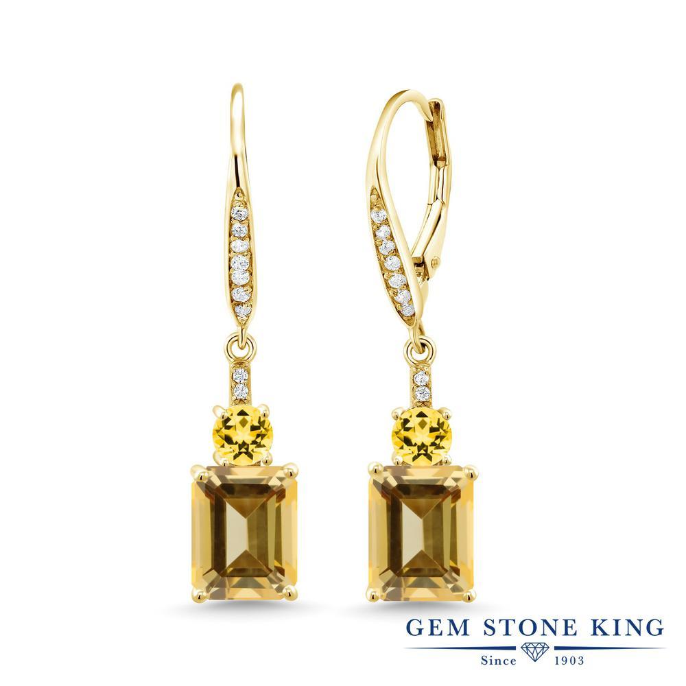 Gem Stone King 5.9カラット 天然石 トパーズ ハニースワロフスキー シルバー925 イエローゴールドコーティング ピアス レディース 大粒 ぶら下がり レバーバック 金属アレルギー対応 誕生日プレゼント