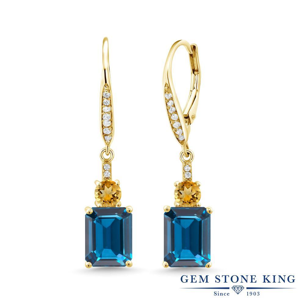 Gem Stone King 5.93カラット 天然 ロンドンブルートパーズ シトリン ピアス レディース シルバー925 イエローゴールド 加工 大粒 ぶら下がり レバーバック 天然石 11月 誕生石 金属アレルギー対応