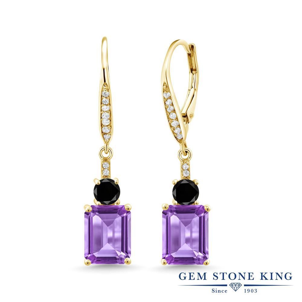 Gem Stone King 5.54カラット 天然 アメジスト 天然ブラックダイヤモンド シルバー925 イエローゴールドコーティング ピアス レディース 大粒 ぶら下がり レバーバック 天然石 2月 誕生石 金属アレルギー対応 誕生日プレゼント