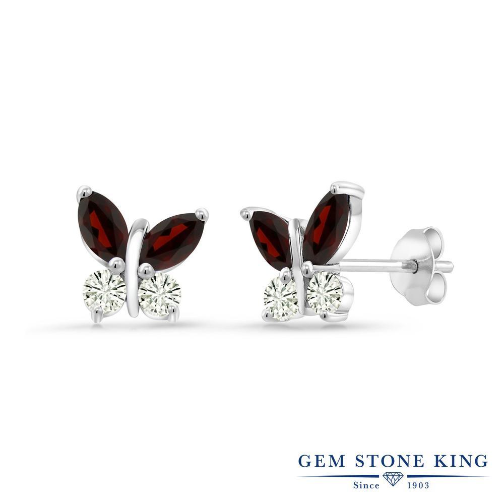 Gem Stone King 1.44カラット 天然 ガーネット モアサナイト Charles & Colvard シルバー925 ピアス レディース 小粒 バタフライ スタッド 天然石 1月 誕生石 金属アレルギー対応 誕生日プレゼント
