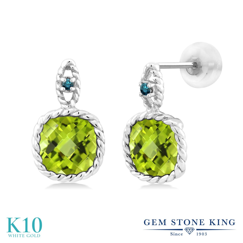 Gem Stone King 5.03カラット 天然石 ペリドット 天然 ブルーダイヤモンド 10金 ホワイトゴールド(K10) ピアス レディース 大粒 8月 誕生石 金属アレルギー対応 誕生日プレゼント