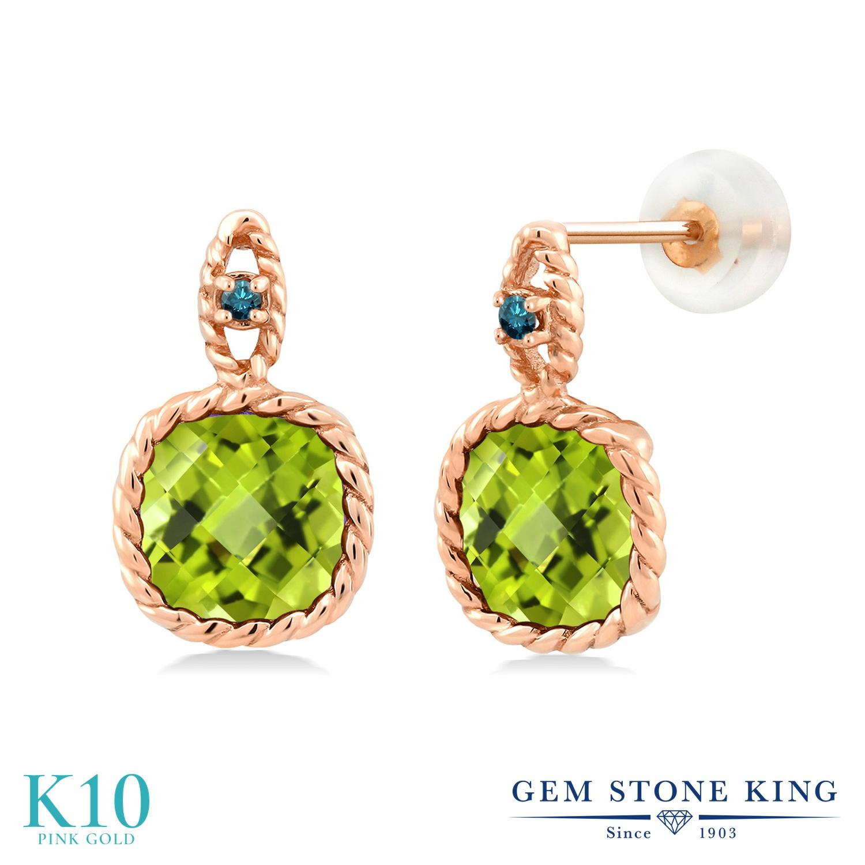 Gem Stone King 5.03カラット 天然石 ペリドット 天然 ブルーダイヤモンド 10金 ピンクゴールド(K10) ピアス レディース 大粒 8月 誕生石 金属アレルギー対応 誕生日プレゼント