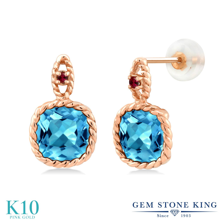 Gem Stone King 4.63カラット 天然 スイスブルートパーズ 合成ルビー 10金 ピンクゴールド(K10) ピアス レディース 大粒 天然石 11月 誕生石 金属アレルギー対応 誕生日プレゼント