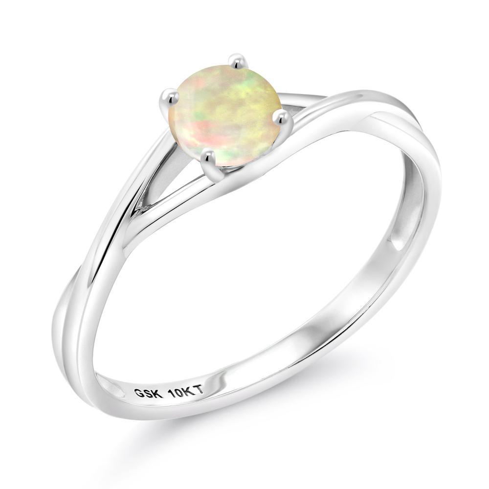 Gem Stone King 0.3カラット 天然 エチオピアンオパール 10金 ホワイトゴールド(K10) 指輪 リング レディース 小粒 一粒 シンプル バンド 天然石 金属アレルギー対応 婚約指輪 エンゲージリング