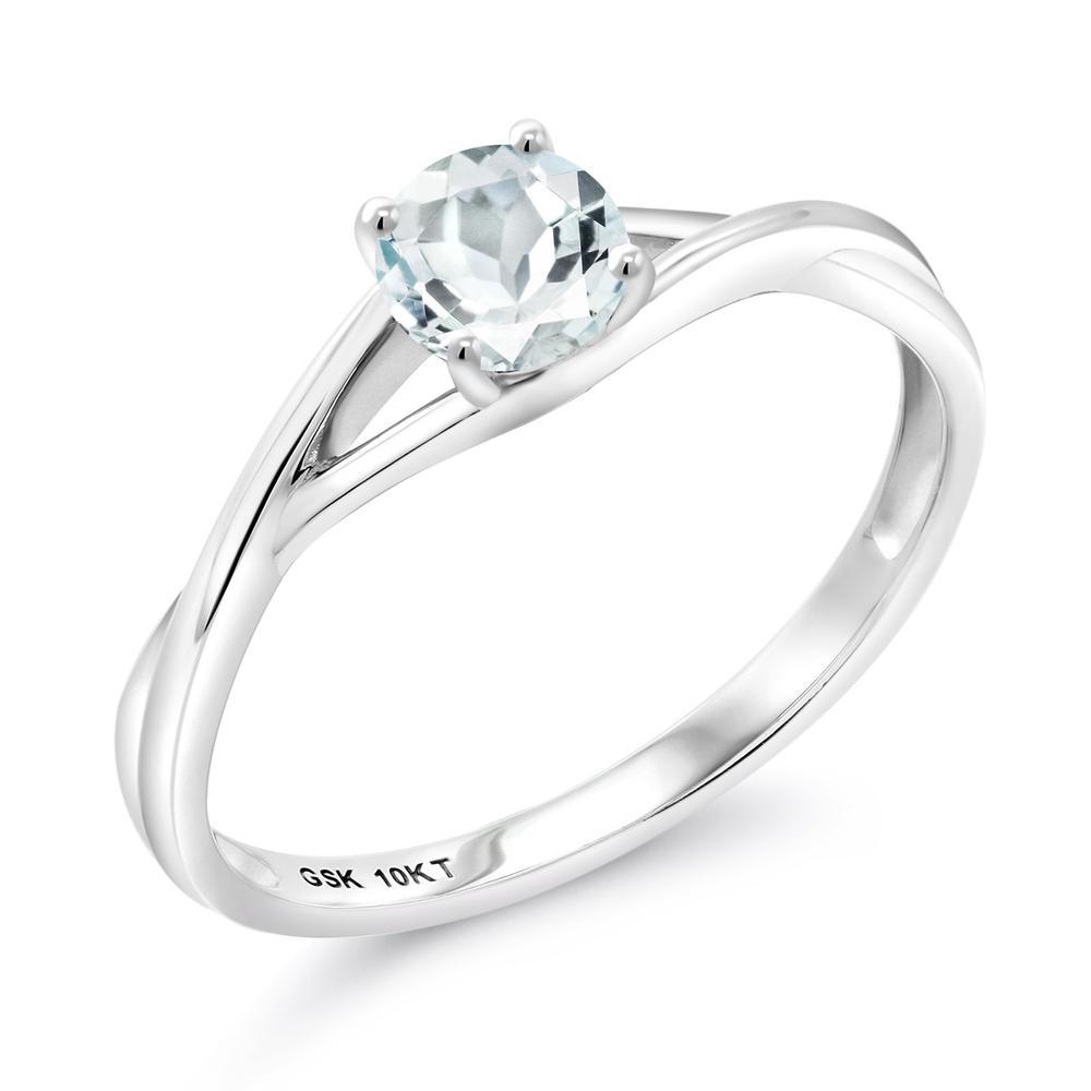 Gem Stone King 0.5カラット 天然 アクアマリン 10金 ホワイトゴールド(K10) 指輪 リング レディース 小粒 一粒 シンプル バンド 天然石 3月 誕生石 金属アレルギー対応 婚約指輪 エンゲージリング