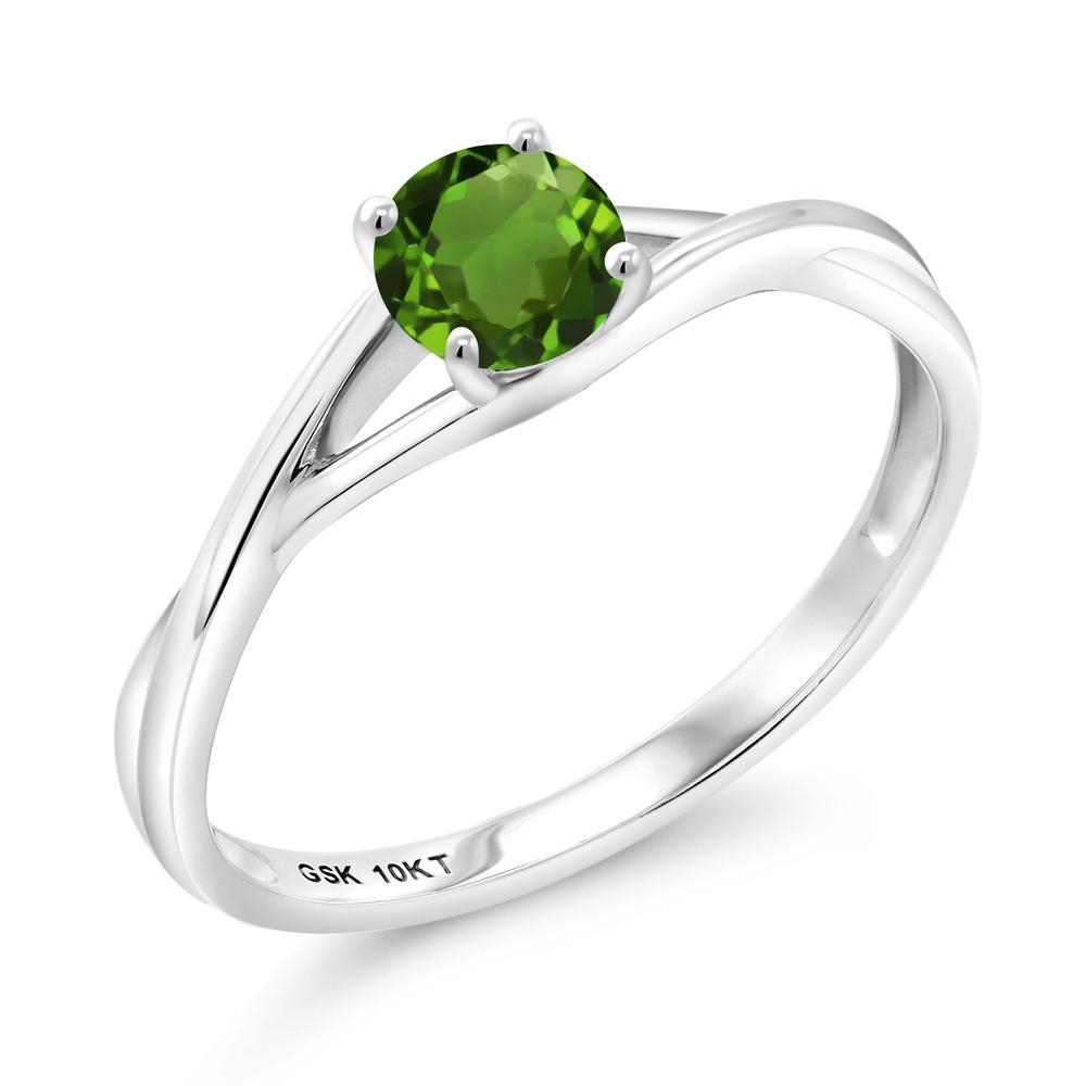 Gem Stone King 0.5カラット 天然 クロムダイオプサイド 10金 ホワイトゴールド(K10) 指輪 リング レディース 小粒 一粒 シンプル バンド 天然石 金属アレルギー対応 婚約指輪 エンゲージリング