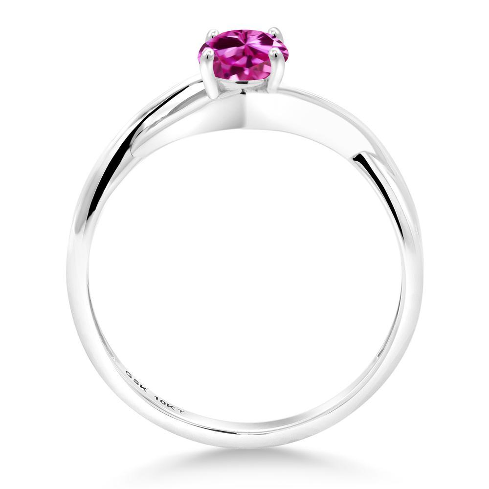 0 55カラット 合成ピンクサファイア 10金 ホワイトゴールド K10指輪 レディース リング 一粒 シンプル バンド 金属アレルギー対応 婚約指輪 エンゲージリングwXZTlPkOiu