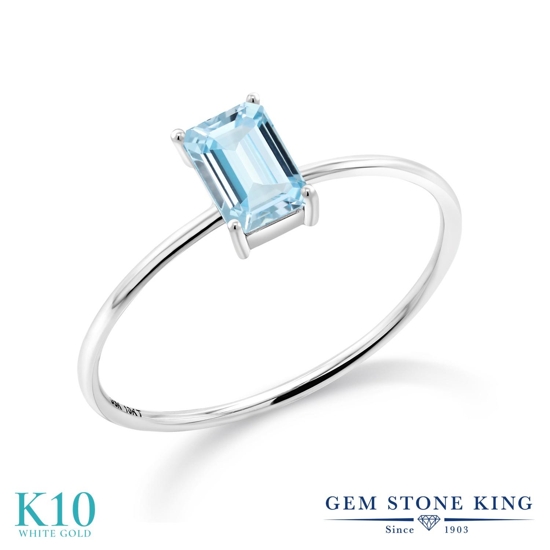 Gem Stone King 0.5カラット 天然 アクアマリン 10金 ホワイトゴールド(K10) 指輪 リング レディース 小粒 一粒 シンプル バンド 天然石 3月 誕生石 金属アレルギー対応 誕生日プレゼント