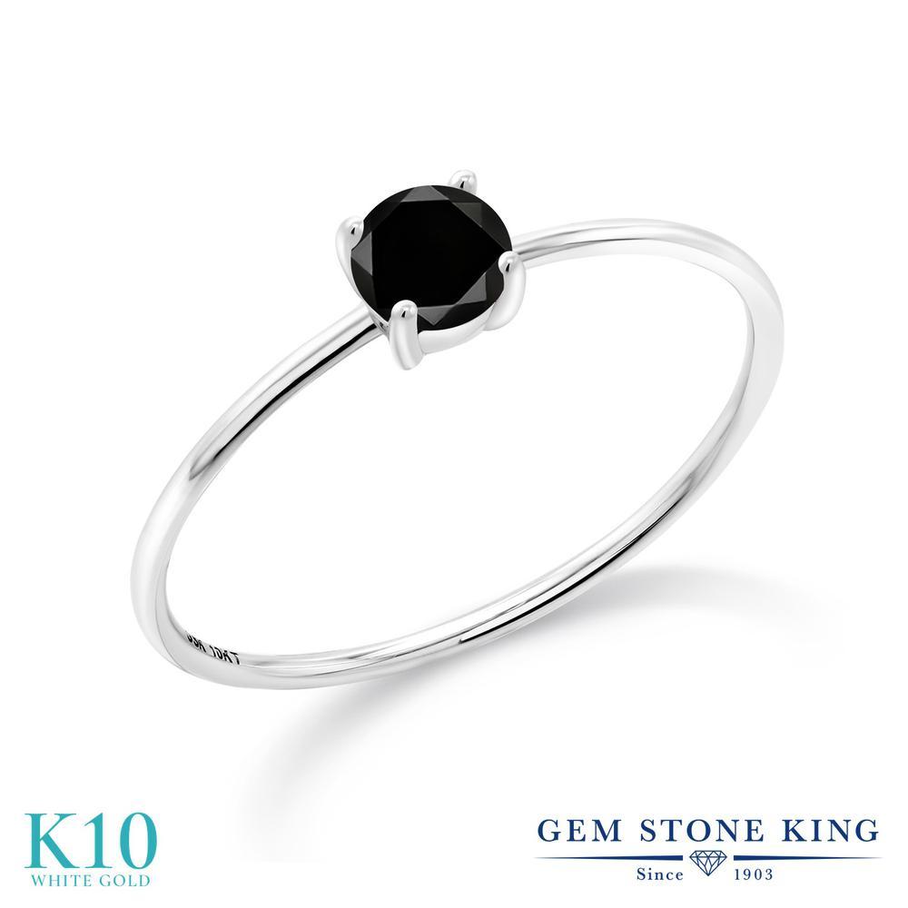 【10%OFF】 Gem Stone King 0.27カラット ブラックダイヤモンド 指輪 リング レディース 10金 ホワイトゴールド K10 ブラック ダイヤ 小粒 一粒 シンプル ソリティア 華奢 細身 天然石 4月 誕生石 婚約指輪 エンゲージリング